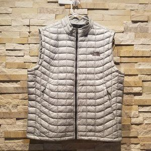 North Face Mens Large Puffer Thermoball Vest Jacket Silver Nano Puff Lightweight